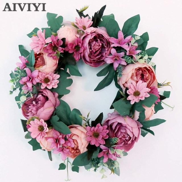 Garland Wedding Decor Senarai Harga W Toy Simulation Peony Wreaths Floral Hoop Garland