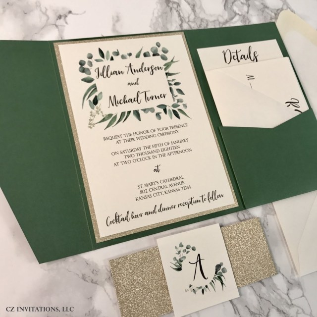 Glitter Wedding Invitations Eucalyptus Forest Green And Gold Glitter Wedding Invitation Cz