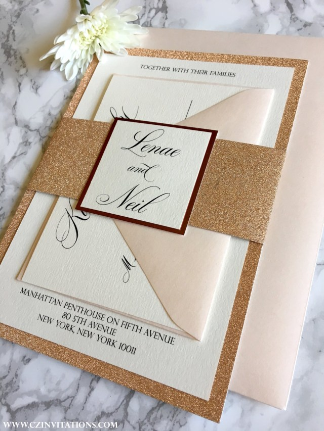 Glitter Wedding Invitations Rose Gold Glitter Wedding Invitation Cz Invitations