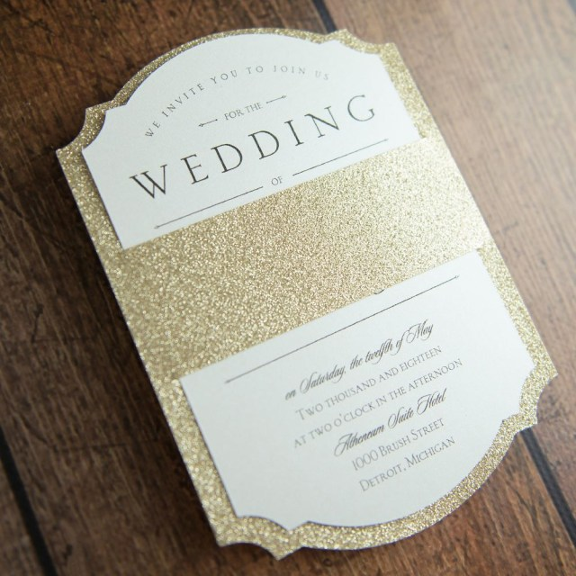 Glitter Wedding Invitations Sparkling Beauty Real Glitter Invitation Gold Glitter Wedding