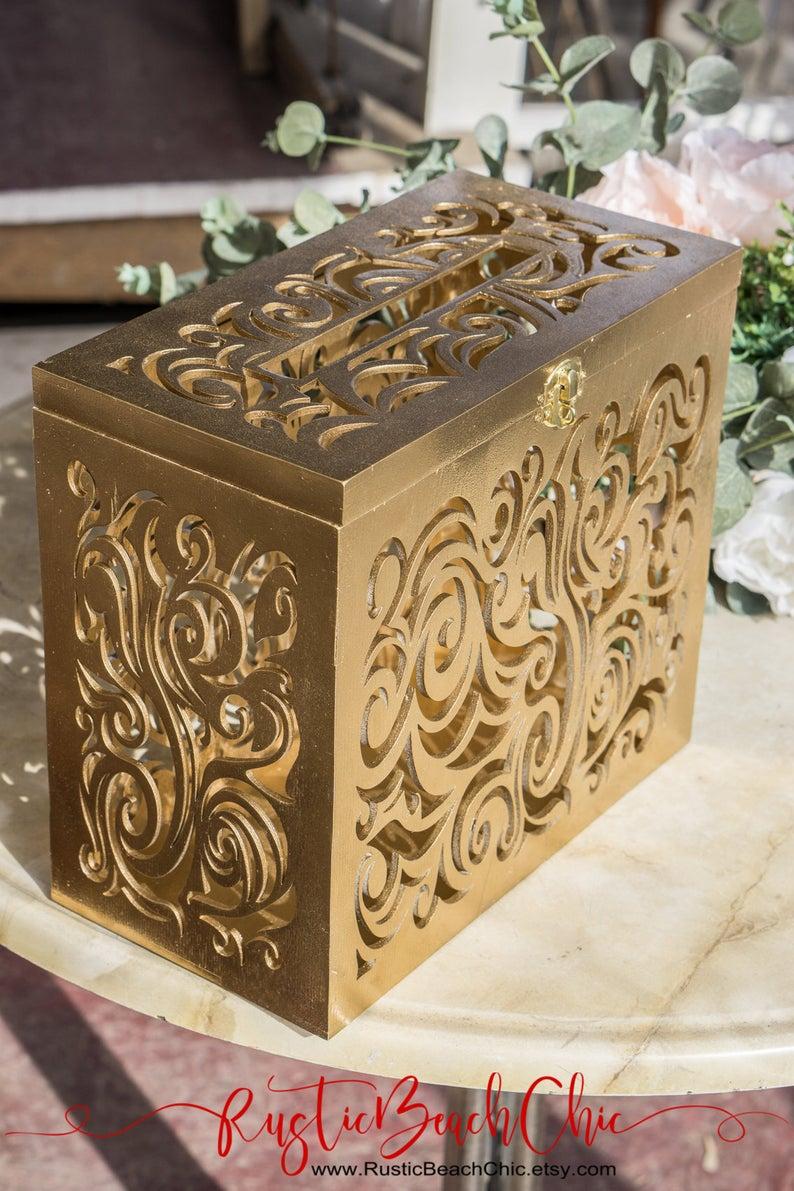 Gold Wedding Decor Gold Wedding Card Box With Lock Slot Wedding Dcor Wedding Etsy