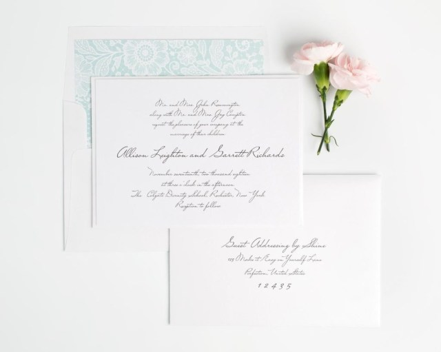Handwritten Wedding Invitations Handwritten Wedding Invitations In Black On White Shimmer Cardstock