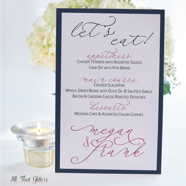 Handwritten Wedding Invitations Megan Handwritten Wedding Reception Menu All That Glitters
