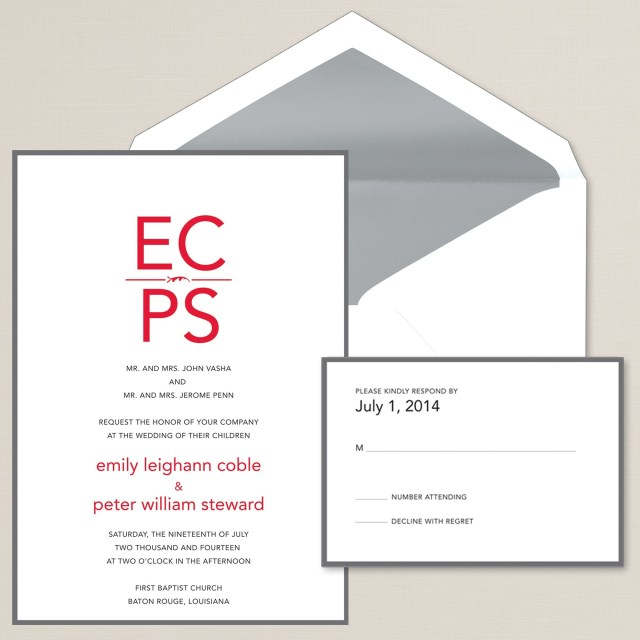 How To Stuff Wedding Invitations Sincerely Yours Wedding Invitation Monogram Initials