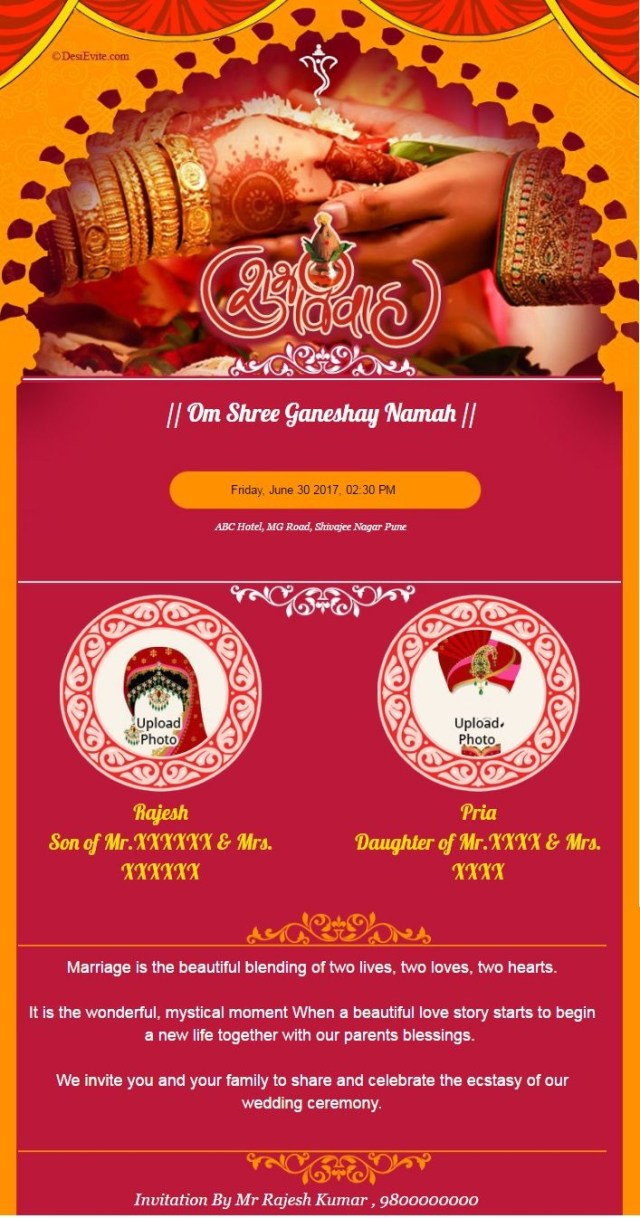 Indian Wedding Invitation Create And Download A Indian Wedding Invitation Card Instantly You