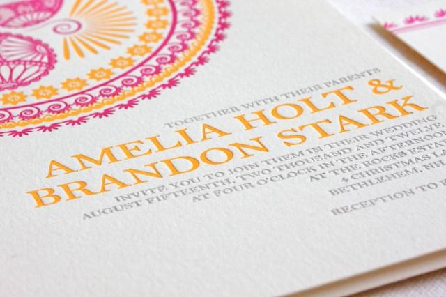 Indian Wedding Invitation Indian Pattern Letterpress Wedding Invitations