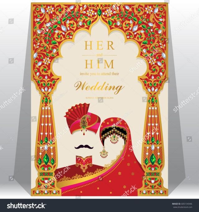 Indian Wedding Invitation Indian Wedding Invitation Card Templates Gold Stock Vektorgrafik