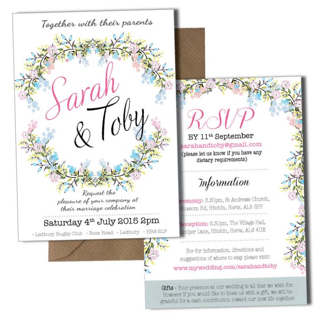 Invitation To Our Wedding Personalised Floral Wedding Invitation Violet Pickles