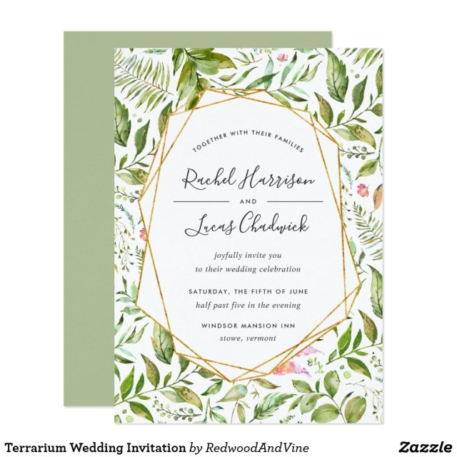 Invitation To Our Wedding Terrarium Wedding Invitation Wedding Invitations Favors And