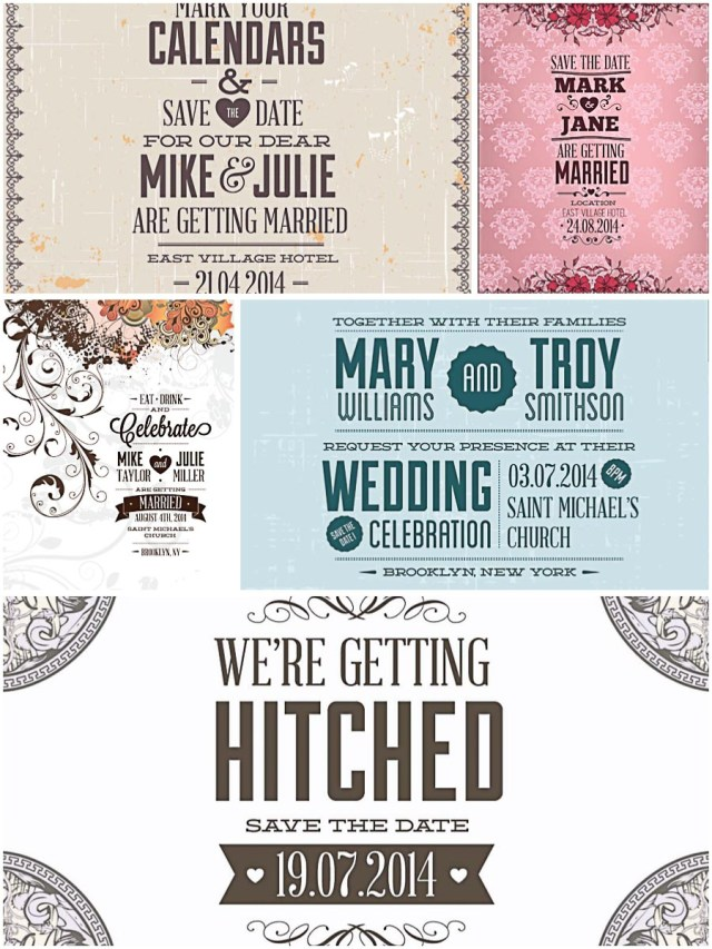 Invitations For Wedding Vintage Invitations For Wedding Set Vector Free Download