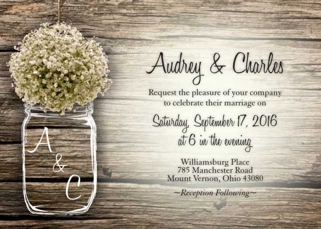 Invitations Wedding Cheap Mason Jar Bas Breath Flowers Rustic Wedding Invitation Set