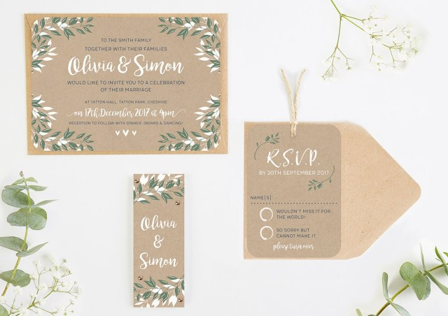 Kraft Wedding Invitations Botanical Rustic Kraft Wedding Invitations Normadorothy