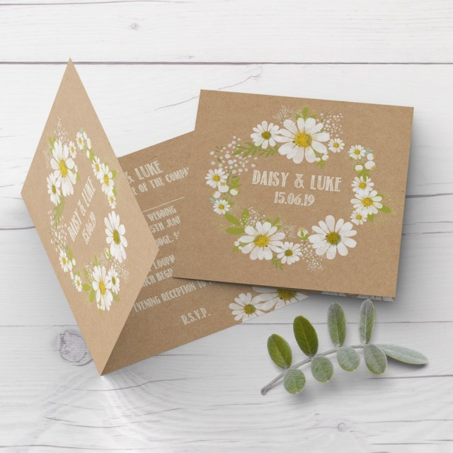 Kraft Wedding Invitations Daisy Wedding Invitation Rustic Kraft Design Customise With Your