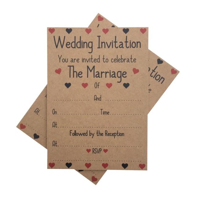 Kraft Wedding Invitations Kraft Wedding Reception Invitations Envelopes Red Hearts 1