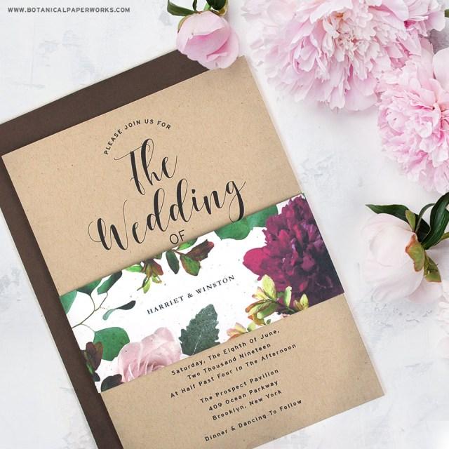 Kraft Wedding Invitations New Kraft Paper Wedding Invitations With Seed Paper Belly Bands