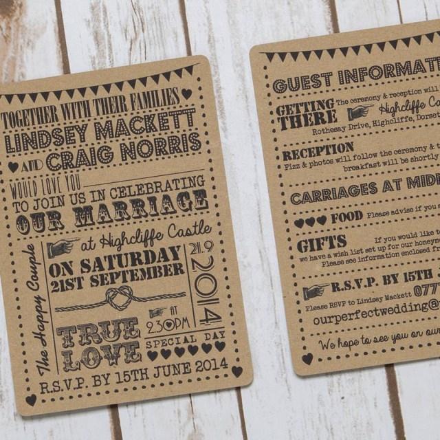 Kraft Wedding Invitations Typography Text Recycled Kraft Wedding Invitation Lovely Jubbly