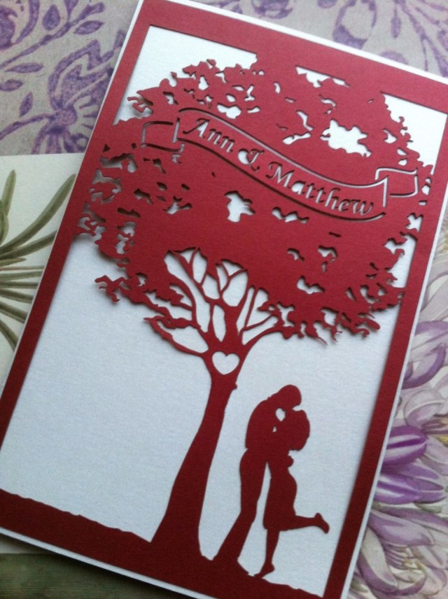 Laser Cut Tree Wedding Invitations Red Romantic Wedding Invitation Card With Tree Laser Cut Wedding