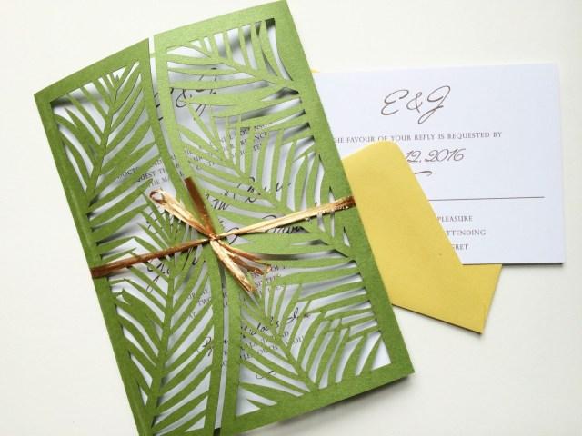Laser Cut Tree Wedding Invitations This Is A Elegant Palm Leafy Style Lazer Cut Wedding Invitation
