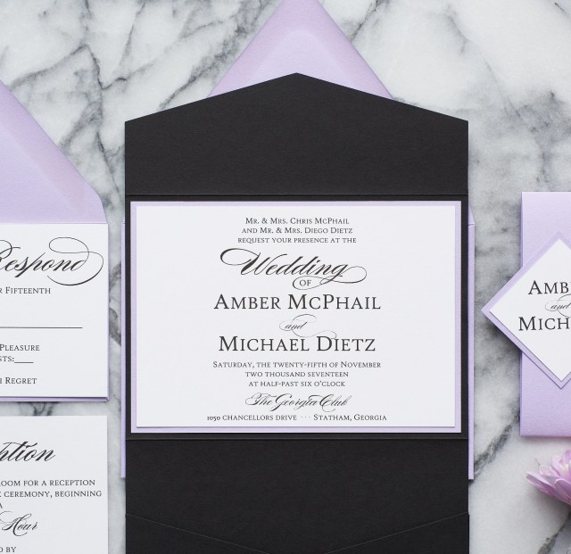 Lavender Wedding Invitations Amber Formal Wedding Invitation Suite All That Glitters Invitations
