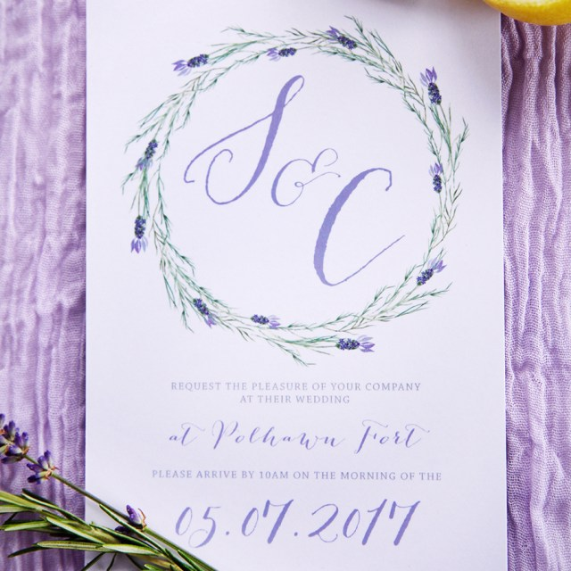 Lavender Wedding Invitations Lavender Wedding Invitation Anon Design Studio