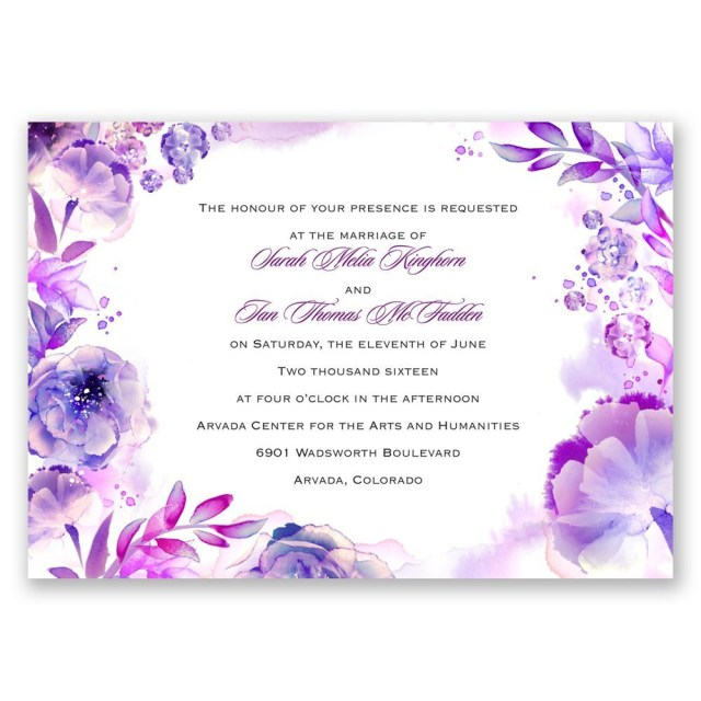 Lavender Wedding Invitations Watercolor Dream Invitation Invitations Dawn