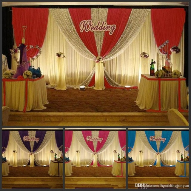 Luxury Wedding Decor 3m6m White Color Ice Silk Wedding Backdrop Curtain With Swag Silver