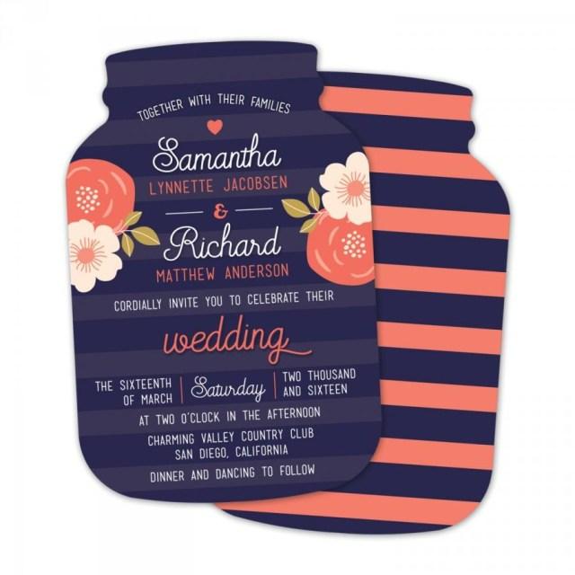 Mason Jar Wedding Invitation Kits 10 Mason Jar Wedding Invitations Mason Jar Shaped Cards Navy And
