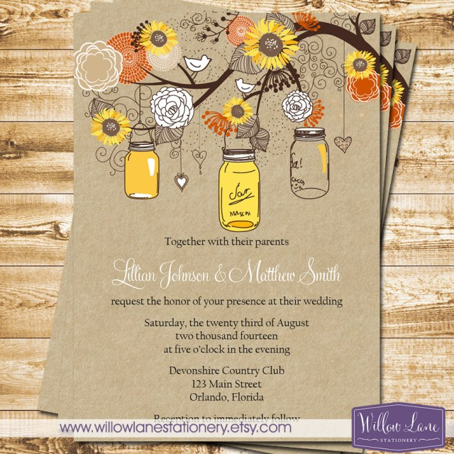 Mason Jar Wedding Invitation Kits Mason Jar Wedding Invitation Sunflower Wedding Fall Autumn Etsy