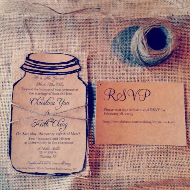 Mason Jar Wedding Invitation Kits Rustic Kraft Mason Jar Wedding Invitation With Natural Burlap And