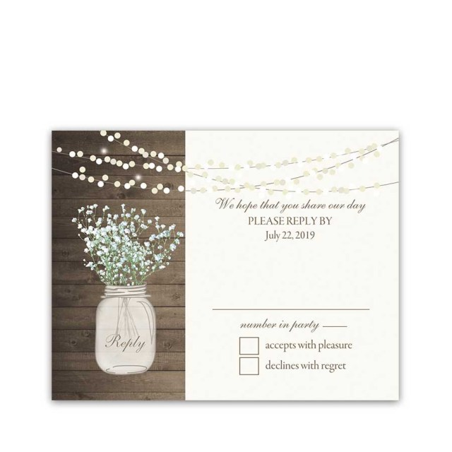 Mason Jar Wedding Invitation Kits Rustic Mason Jar Rsvp Reply Cards Bas Breath Archives Noted