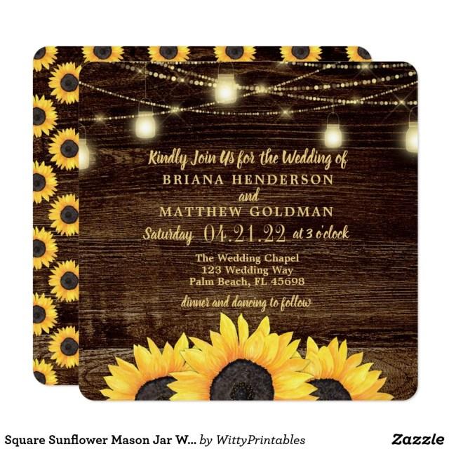 Mason Jar Wedding Invitation Kits Square Sunflower Mason Jar Wedding Invitations In 2018 Best Floral