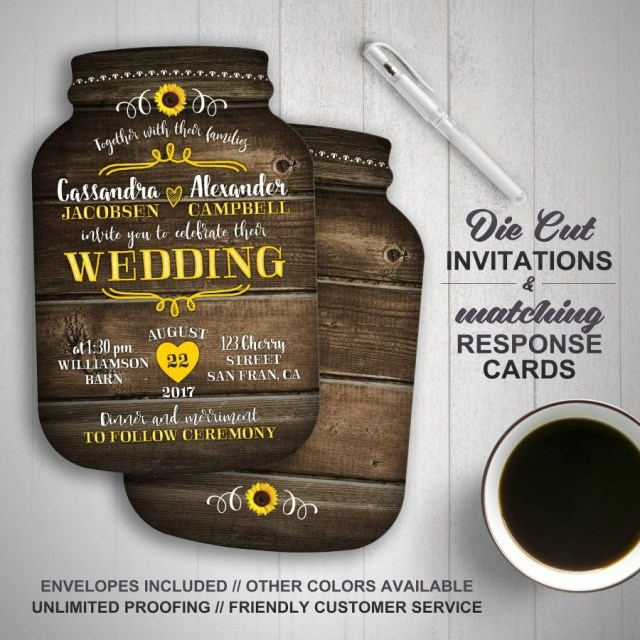 Mason Jar Wedding Invitation Kits Sunflower Wedding Invitation Mason Jar Wedding Invitations Mason