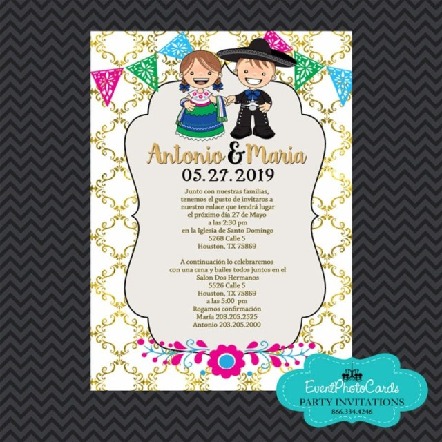 Mexican Wedding Invitations Mexican Invitations Wedding Gold Charro Quinceanera Invitations