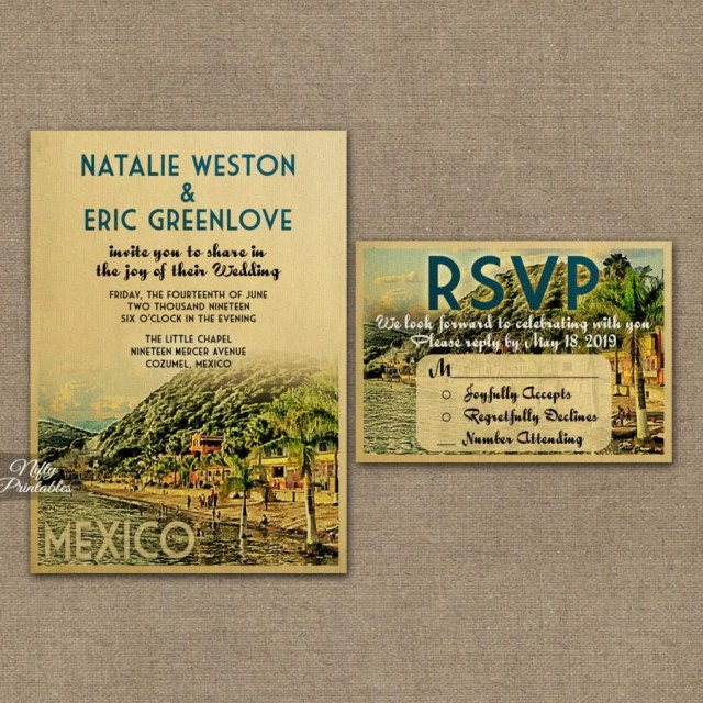 Mexican Wedding Invitations Mexico Wedding Invitation Printable Vintage Mexican Wedding