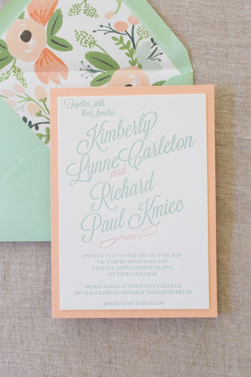 Minted Wedding Invitations Mint And Peach Mounted Letterpress Wedding Invitations Jtown