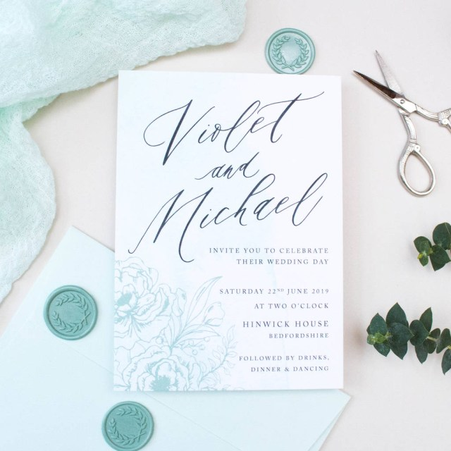 Minted Wedding Invitations Mint Green Calligraphy Wedding Invitation Nina Thomas Studio