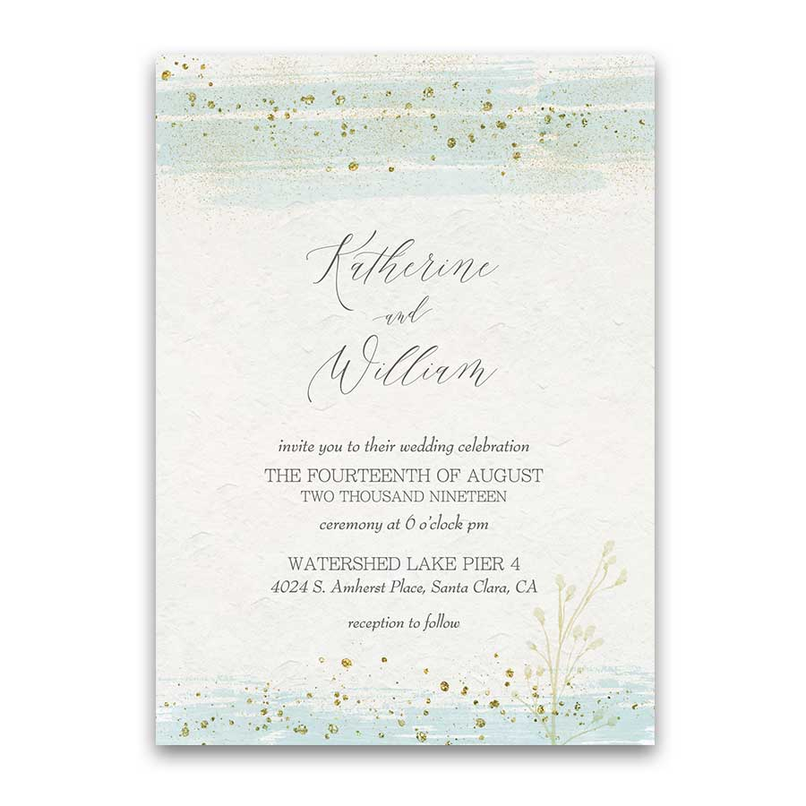 Minted Wedding Invitations Wedding Enclosure Cards Mint Gold Watercolor Modern Sparkle