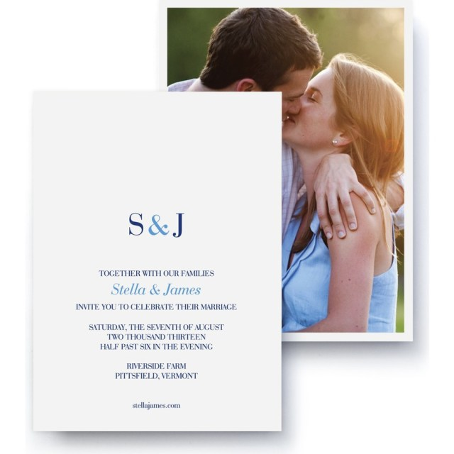 Monogram Wedding Invitations Premium Wedding Photo Invitations Monogram Pinhole Press