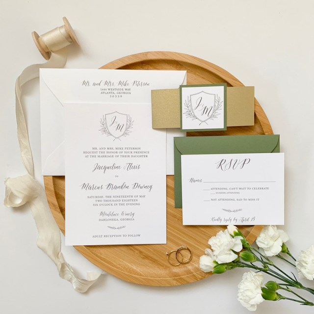Monogram Wedding Invitations Tuscan Inspired Monogram Wedding Invitation With Bellyband Oh My