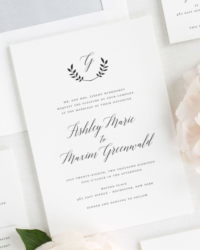 Monogram Wedding Invitations Wreath Monogram Wedding Invitations Wedding Invitations Shine