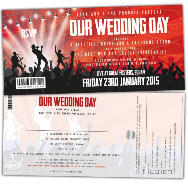 Music Themed Wedding Invitations Concert Ticket Wedding Invitations Wedfest