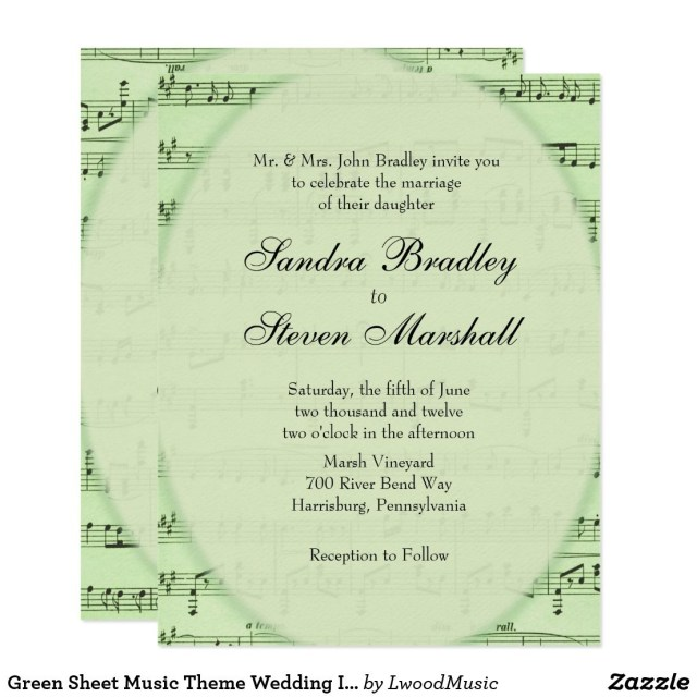 Music Themed Wedding Invitations Green Sheet Music Theme Wedding Invitation Music Theme Weddings