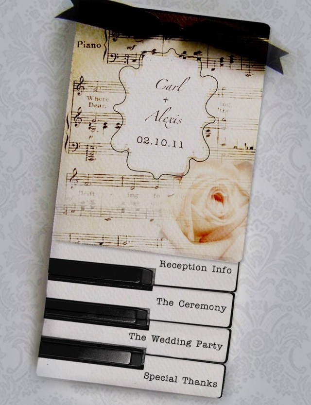 Music Themed Wedding Invitations Layered Wedding Programs Or Invitations Music Vintage Piano