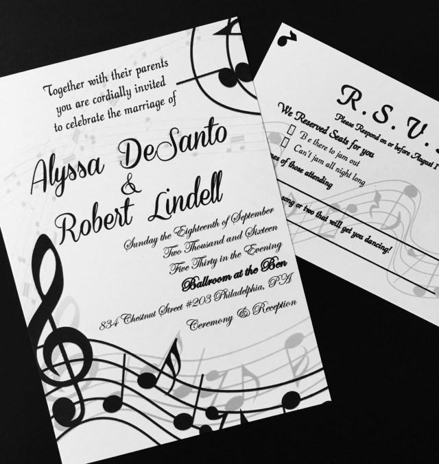 Music Themed Wedding Invitations Self Print Music Themed Wedding Invitations