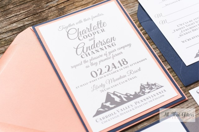 Navy And Coral Wedding Invitations Charlotte Mountain Wedding Invitation Suite All That Glitters
