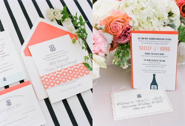 Navy And Coral Wedding Invitations Coral Wedding Invitation With Mint Green And Navy Accents