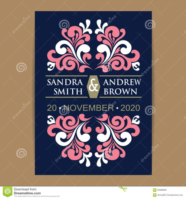 Navy And Coral Wedding Invitations Navy And Coral Wedding Invitation Card Stock Vector Illustration