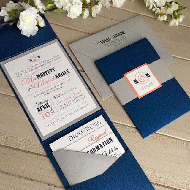 Navy And Coral Wedding Invitations Navy Gray And Coral Wedding Invitations Modern Wedding Invitations