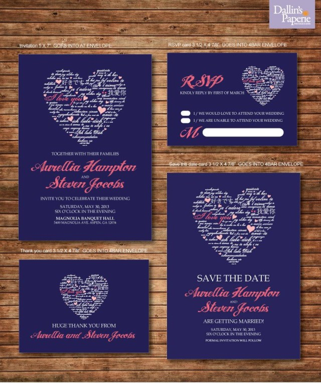 Navy And Coral Wedding Invitations Wedding Invitation Printables Coral And Navy Blue Heart