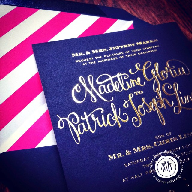 Navy And Gold Wedding Invitations Margotmadison Navy Gold Wedding Invitation